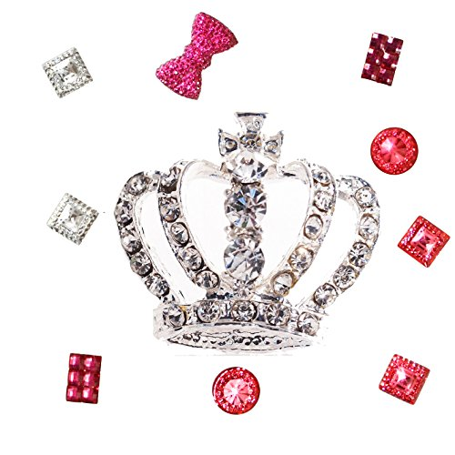 Diy Bling Phone - 1 pc 3D Silver Rhinestone Crown Cabochon for DIY Bling Mobile Phone Case Decoration
