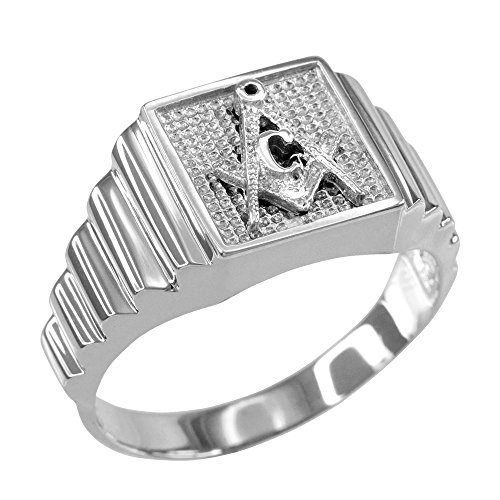 Men's 10k White Gold Layered Band Freemason Square and Compass Masonic Ring (Size 11.5)