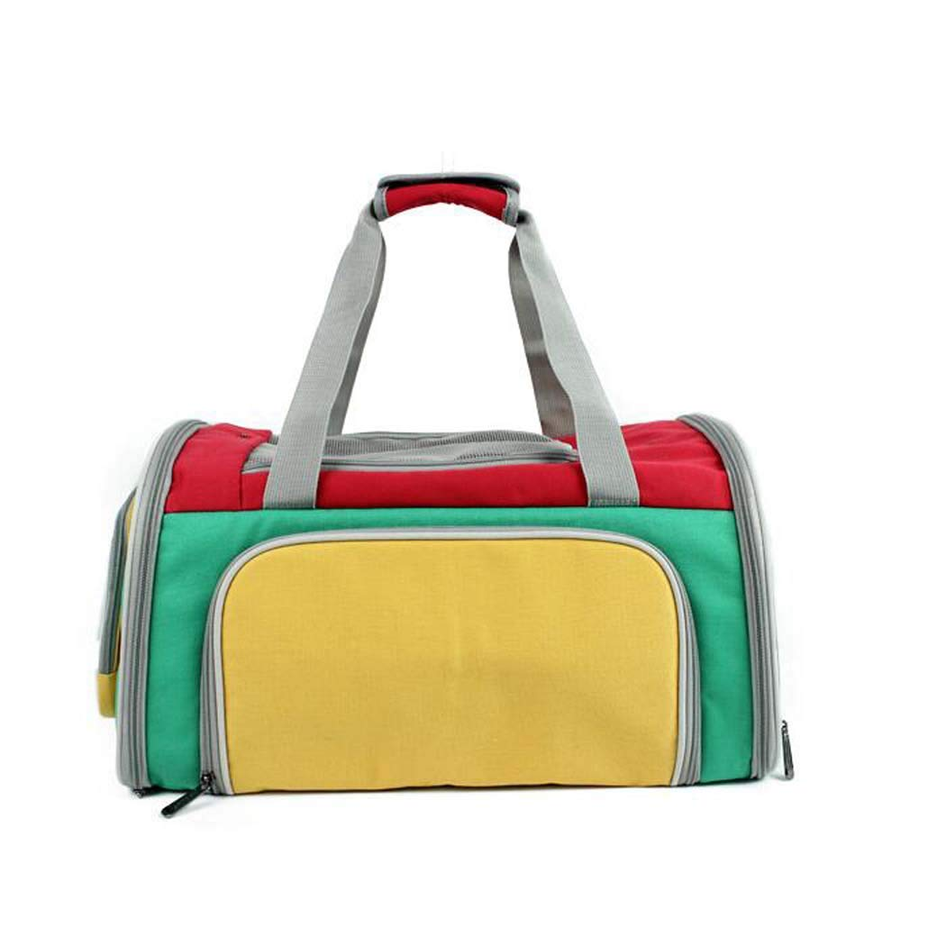 Pet Carrier, Three-color Canvas Breathable pet Backpack, Ultra-Light Shoulder Portable Out of The cat Bag Dog Bag Belt, Detachable Wool pad Zip Pocket,Green