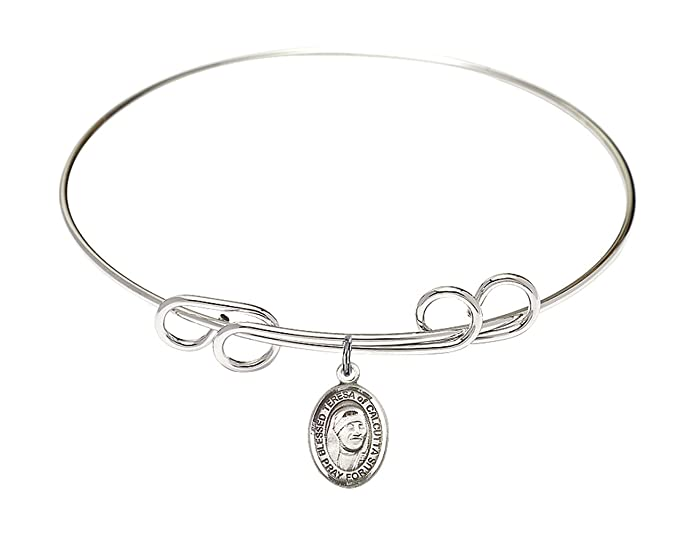 DiamondJewelryNY Double Loop Bangle Bracelet with a Blessed Teresa of Calcutta Charm.