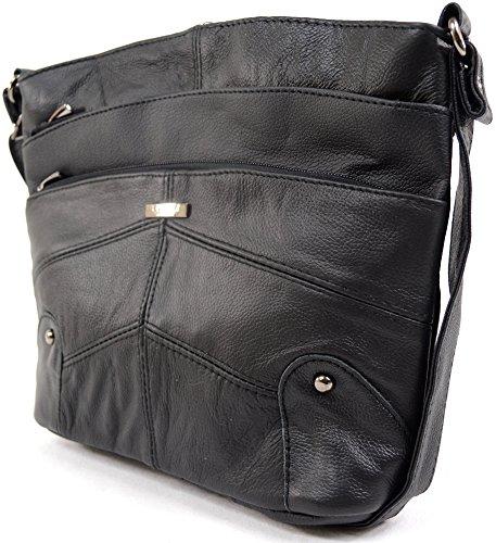 Ladies/Womens piel hombro Cruz Cuerpo Bolsa con varios bolsillos negro