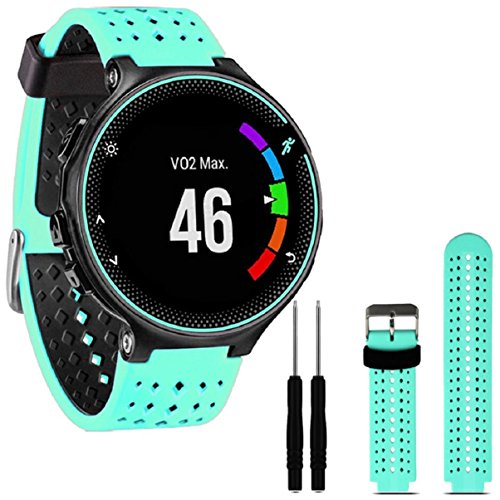 lookatool-soft-silicone-replacement-wrist-watch-band-for-garmin-forerunner-230-235-630-mint-green