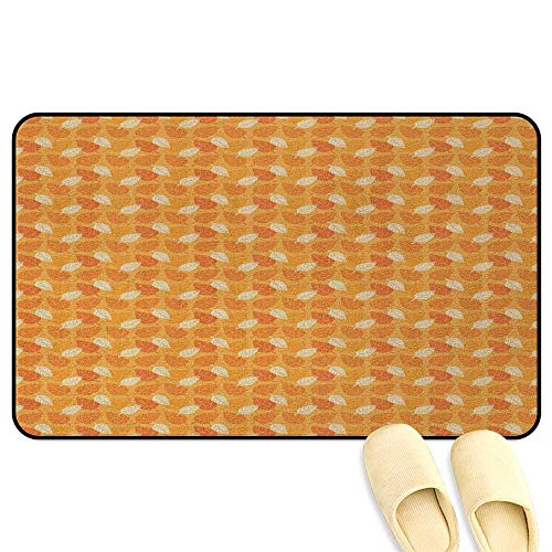 (homecoco Burnt Orange Office Comfort Standing Mat Autumn Leaves Silhouettes Foliage Illustration Nature Theme Orange Burnt Orange White 3D Digital Printing Mat W19 x L31)