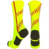 MadSportsStuff Softball Socks with Stitches in Crew Length (Neon Yellow/Red, Small)