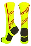 MadSportsStuff Softball Socks Stitches in Crew Length (Neon Yellow/Red, Medium)