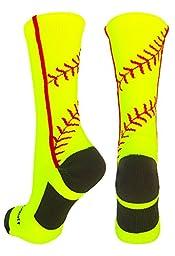 Softball Stitch Crew Socks (Neon Yellow/Red, Medium)