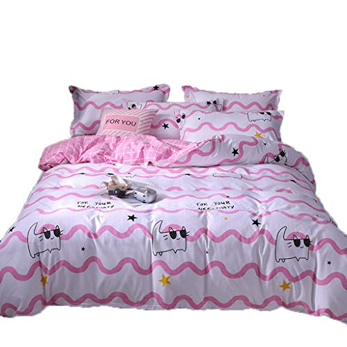 MoonHome Pink Kitten Pattern Four Piece Bedding Tribute Cotton Pillowcase Creative Pattern Full Size