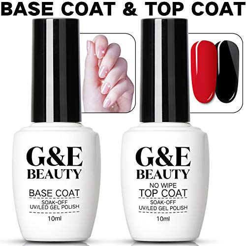 NaIL Art Soak Off Base Coat + No Wipe Top Coat Set 10ml/Bottle Quick Dry Long Lasting Shine High Gloss Mirror Effect Clear Resin Gel Polish Glue Tested Formula For Home And Salon Use UV/LED Lamp Cured