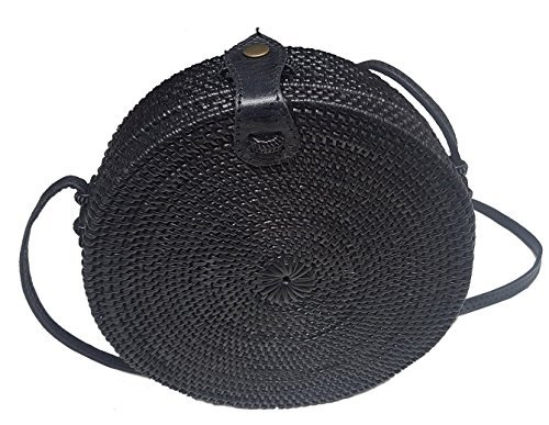 (Rattan Nation - Black Round Rattan Bag (Plain Weave Leather Closure), Straw Bag )