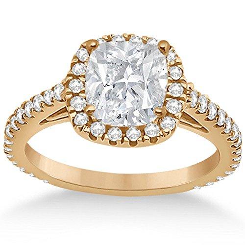 (Cushion Cut Diamond Engagement Ring Setting for Women 18K Rose Gold Diamond Bridal Band 0.60cw)