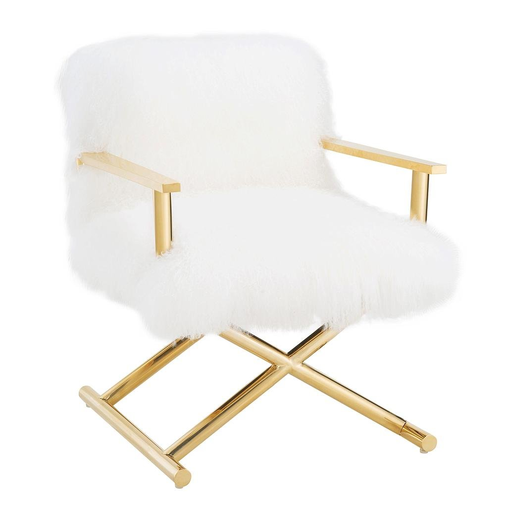 TOV Furniture TOV A170 the Jodi Collection Modern Sheepskin Fur Upholstered Director Chair with X-Metal Base, Small, White