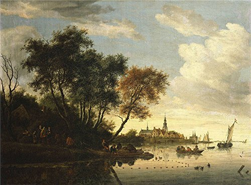Oil Painting 'Salomon Van Ruysdael - River Scene-Men Dragging A Net, C. 1667' 16 x 22 inch / 41 x 55 cm , on High Definition HD canvas prints is for Gifts And Game Room, Garage And Home Office decor (Hampton Beach Stand Mixer compare prices)