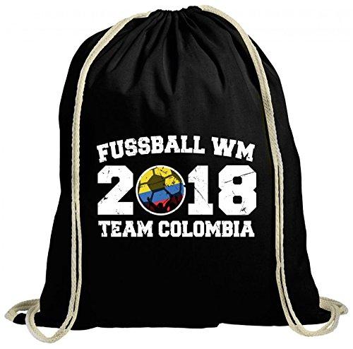 ShirtStreet Kolumbien Fußball WM Fanfest Gruppen natur Turnbeutel Rucksack Gymsac Team Colombia Schwarz