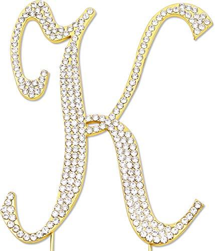 Sparkly Rhinestones Letter K Cake Topper, Birthday Wedding Anniversary Gold Initial K