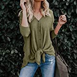 Womens Waffle Knit Tunic Blouse Tie Knot Henley Tops Loose Fitting Bat Wing Plain Shirts (Green -1, L)