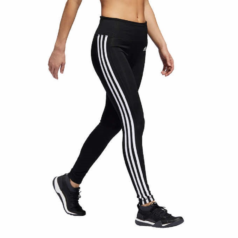 adidas Womens 3 Stripe Active Tights Leggings (Black, Large) by adidas