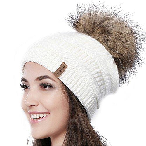21ab38e9c FURTALK Womens Winter Slouchy Beanie Cap With Real Fur Pom ...