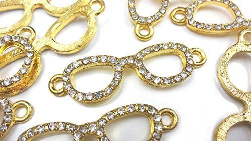 【HARU雑貨】ラインストーン付き チャーム メガネ 3個セット ゴールド 金/眼鏡 コネクター アクセサリーパーツ