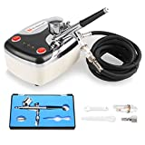 Voilamart Portable Dual Action Airbrush Spray Gun Kit with Air Compressor, 0.3mm Needle