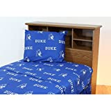 4 Piece NCAA Blue Devils Sheet King Set, Blue White Collegiate Basketball Theme, Sports Pattern Bedding, Team Logo Fan Merchandise Athletic Team, Fully Elasticized Fitted, Soft & Durable Cotton