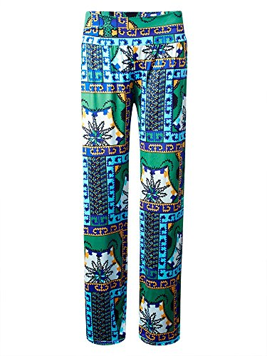 Bohemian Floral Stretch Waist Women Wide Leg Pants