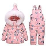 LSERVER Infant Toddler Pink Down Coat Snowsuit Warm Jacket with Snow Ski Bib Pants Jumpsuit 1-3T
