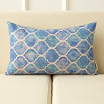 Uus Amerikanischen Landhausstil Kissen Geometrie Aquarell Baumwolle Hanf  Kissen Frische Abstrakte Blume Mit Wohnzimmer Büro Sofa