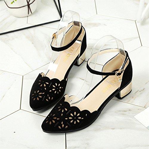 Malloom Sandalen, Damen Sommer Kunstleder hohle elastische Band Plattform Toe Low-Heels elegante Wedge Schuhe Schwarz