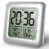 GuDoQi Waterproof Bathroom Clock LCD Digital Wall Mirror Suction Cup Kitchen Temperature Humidity Sensor Time Watch Shower Clock
