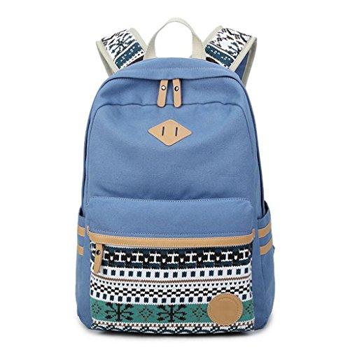 Retro Denim Backpack School Bag Daypack (Lake Blue) - 1