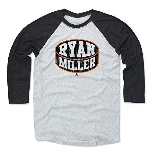 500 LEVEL Ryan Miller Baseball Shirt Medium Black/Ash - Anaheim Hockey Fan Apparel - Ryan Miller Anaheim Puck K