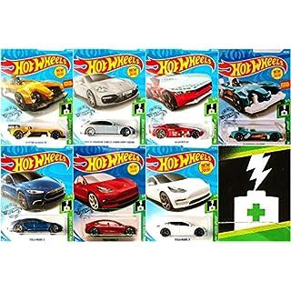 Hot Wheels Complete HW Green Speed Bundle 7 Car Set Bundle Includes Tesla Model 3 Red and White Tesla Model S Kroger Exclusive Electro Silhouette