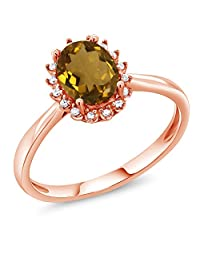 1.00 Ct Oval Whiskey Quartz 10K Rose Gold Ring with Diamond Accent (Available in size 5,6,7,8,9)