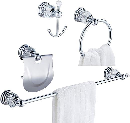 AUSWIND Chrome Finish Brass Office Hooks Wall Mount Towel Rack Bathroom Accessories 4 Hangers