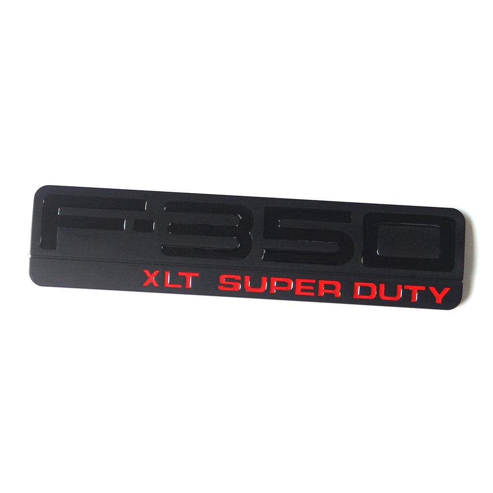2x OEM Black Red F-350 XLT Super Duty Side Fender Emblems Badge 3D logo Replacement for F350 XLT Pickup Sanucaraofo