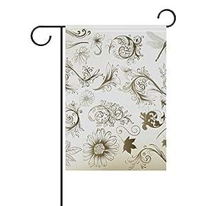 bennigiry Sketch libélula tela de poliéster bandera de Jardín, resistente a la intemperie banderas para el año al aire libre pantalla doble cara bandera de bienvenida 12x 18inch, T103, Multicolor, 28x40(in)