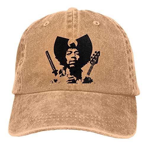 DADAJINN Jimi Hendrix Adjustable Travel Cotton Washed Denim Hats Natural