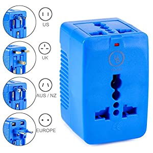 Yubi Power Dual Outlet Travel Adapter with 2 Universal Outlets - Built In Surge Protector and Neon Light Indicator - Foldable Prongs for Type A, C, G, and I Outlets | Works In 150+ Countries - Blue