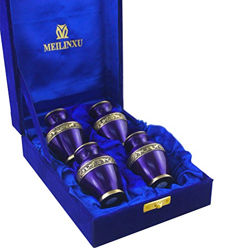 MEILINXU Keepsake Urns Set of 4-Cremation Urn by Brass Mini Funeral Urns for Human Ashes Adult-Fits a Small Amount of Cremated Remains-Display Burial Urn at Home or Office (Elsene Purple (Brass Keepsake Cremation Urn)