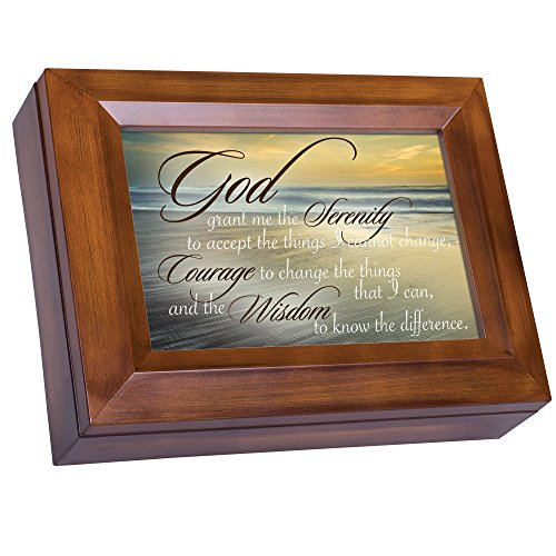 Serenity Prayer Ocean Waves Wood Finish Jewelry Music Box Plays You are My Sunshine