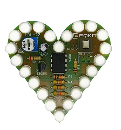 Icstation Heart Shape LED Flashing Lights Kit Electronics Soldering Practice Set (White)