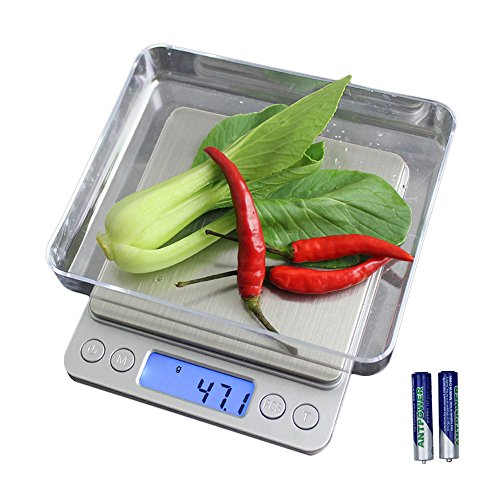 Samsion Digital Kitchen Scale Multifunction Food Scale, 6.6lb / 3000g by 0.1g / 0.01oz, Stainless Steel, LCD Display, Tare and PCS Features, Perfect for Jewelry Baking Cooking, Batteries Included