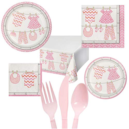 - Baby Girl Shower Party Pack Decoration Plates Napkins Table Cover Set Serves 16 - Luncheon & Dessert Paper Plates, Napkins, Table Cover, Cutlery - Disposable Party Supplies for Food and Cake