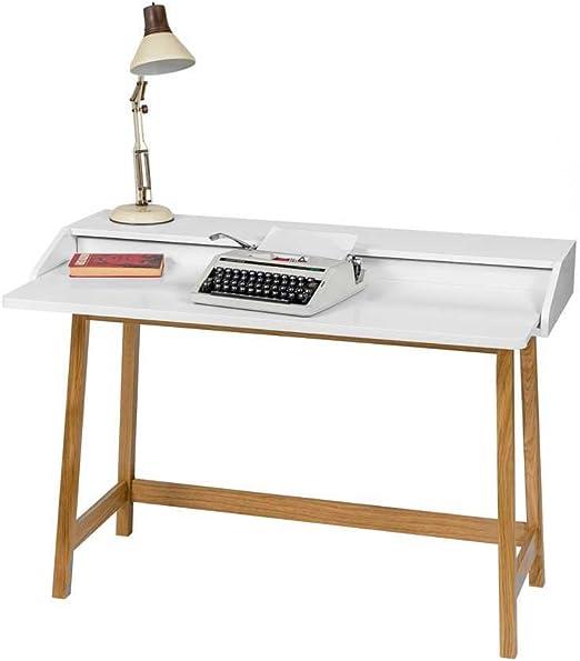 Pharao24 Schreibtisch Mit Aufsatz Weiss Eiche Amazon De Kuche Haushalt