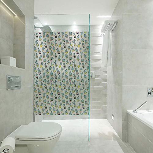 (3D No Glue Static Decoration Window Film Glass sticker,Cartoon Hand Drawn Foliage in Vases Latin American Inspirations Botanical Decorative,Customizable size,Suitable for bathroom,door,glass etc,Blue)