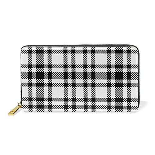 U LIFE Vintage Colorful Plaid Tartan Checkered Striped Geometric Wallets Purse Cash Card Holder Case Leather (Striped Case Card)
