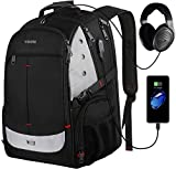 Large Backpack for School,Laptop Bookbag for Men Women with USB Charging Port,TSA Laptop Backpack College Student Backpack Water Resistant Business Computer Bag Fit 17inch Laptop,Black