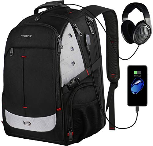Largest Laptop Backpack - Large Laptop Backpack, 17 Inch Laptop Backpack with USB Charging Port for Men and Women,TSA Laptop Backpacks College School Backpack Business Computer Bookbag Fit 17in Laptops,Black