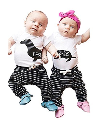 - KONIGHT 2Pcs Infant Twins Baby Girl Boy Best Friends Short Sleeve Romper+Striped Pants Outfit Clothes (0-6 Months Best and Friend, Best and Friend)