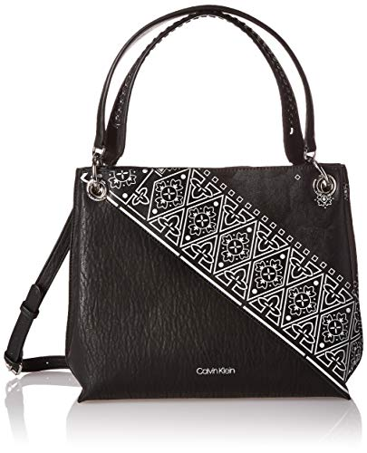 Calvin Klein Raya Printed Bubble Lamb Novelty Woven Chain Hobo, Black/White